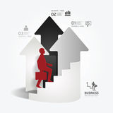 Businessman up the Arrow Ladder paper cut style template. Royalty Free Stock Photos