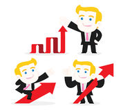 Businessman with up arrows Royalty Free Stock Photo