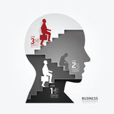 Businessman up the Ladder paper cut style template. Royalty Free Stock Images