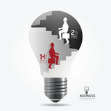 Businessman up the Ladder paper light bulb cut style template. Stock Photo