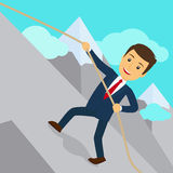 Businessman uphill climb. Business success achievement concept. Vector illustration Royalty Free Stock Photos
