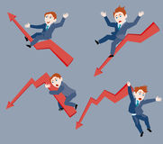 Businessman. The ups and downs of affairs vector illustration Royalty Free Stock Photo