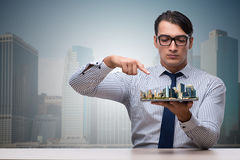 The businessman in urban planning concept Royalty Free Stock Image
