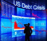 Businessman and US Debt Crisis Concept Stock Photos