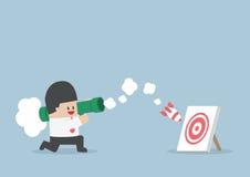 Businessman use bazooka rocket launcher destroy the target Stock Photography