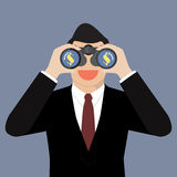 Businessman use binoculars looking for money Stock Photos