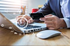 Free Businessman Use Credit Card To Shopping Online In Internet Website Shop With Computer Laptop. Royalty Free Stock Images - 160678669