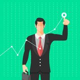Basic RGB. Businessman use figer drag graph growth up. Vector illustrate Royalty Free Stock Images