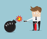 Businessman use fire extinguisher  for stop debt bomb. Cartoon vector illustration Stock Photo