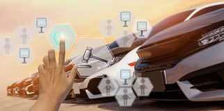 Free Businessman Use Hand Touch Icon Hologram Auction Used Car,with Trading Concept And Online Auction In Automotive Industry, Royalty Free Stock Photos - 161960688