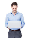 Businessman use of laptop Stock Images