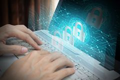 Businessman use Laptop with padlock and cloud technology backgro. Und, Cyber Security Data Protection Business Technology Privacy concept, Internet Concept of Stock Image