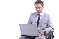 Businessman use laptop Royalty Free Stock Photography