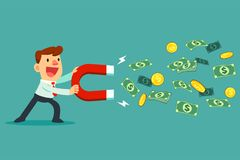 Businessman use large magnet to attract money. Business concept vector illustration