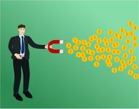 Businessman use magnet attract profit money. Success concept royalty free illustration