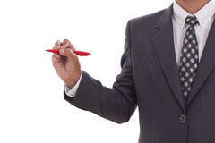 Businessman use pen write something Royalty Free Stock Photo