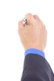 Businessman use pen writing something Stock Photo