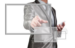 Businessman use smart phone with digital screen float out Stock Photo