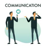 Businessman use smartphones to talk on the phone and receive emails. Communication business concept illustration royalty free illustration