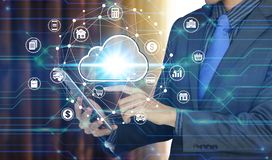 Businessman use tablet with cloud computing icon technology, Cyber Security Data Protection.  stock image