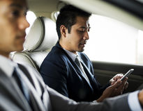 Businessman Use Tablet Inside Car Concept Royalty Free Stock Photography