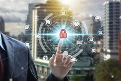 Businessman use tablet with padlock icon technology, Cyber Security Data Protection.  royalty free stock photo