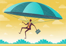 Businessman uses his Parachute. Royalty Free Stock Images