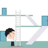 Businessman uses stairway to shortcut for going up to the top, vector illustration in flat design Stock Image