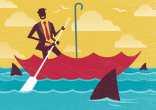 Businessman uses Umbrella to sail to safety. Great illustration of Retro styled Businessman carefully navigating Shark infested waters using his umbrella for Stock Photo