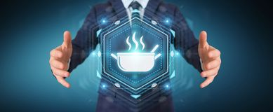 Businessman using application to order home made food online 3D. Businessman on blurred background using application to order home made food online 3D rendering Royalty Free Stock Photo
