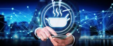 Businessman using application to order home made food online 3D. Businessman on blurred background using application to order home made food online 3D rendering Stock Photography