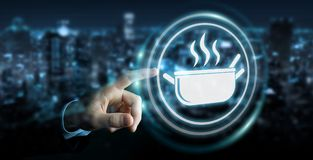 Businessman using application to order home made food online 3D. Businessman on blurred background using application to order home made food online 3D rendering Stock Image
