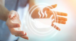 Businessman using application to order home made food online 3D. Businessman on blurred background using application to order home made food online 3D rendering Stock Images