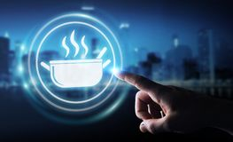Businessman using application to order home made food online 3D. Businessman on blurred background using application to order home made food online 3D rendering Royalty Free Stock Photos