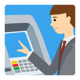 Businessman using ATM machine. Vector illustration of man square icone isolated white background. Royalty Free Stock Image