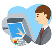 Businessman using ATM machine. Vector illustration of people icon Stock Images