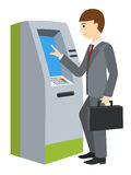 Businessman using ATM machine. Vector illustration of people  Royalty Free Stock Photography