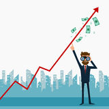 Businessman using binoculars looking for growth chart ,money and pointing finger to raise the graph get a lot of money. Royalty Free Stock Images