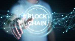 Businessman using blockchain cryptocurrency interface 3D renderi. Businessman on blurred background using blockchain cryptocurrency interface 3D rendering Royalty Free Stock Photo