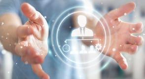 Businessman using business leadership chart 3D rendering. Businessman on blurred background using business leadership chart 3D rendering Stock Image