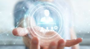 Businessman using business leadership chart 3D rendering. Businessman on blurred background using business leadership chart 3D rendering Stock Photos