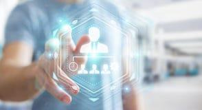 Businessman using business leadership chart 3D rendering. Businessman on blurred background using business leadership chart 3D rendering Stock Images