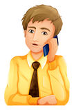 A businessman using a cellular phone. Illustration of a businessman using a cellular phone on a white background vector illustration