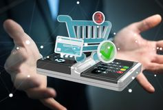 Businessman using contactless terminal payment 3D rendering. Businessman on blurred background using contactless terminal payment 3D rendering Royalty Free Stock Photo