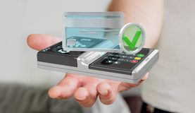 Businessman using contactless terminal payment 3D rendering. Businessman on blurred background using contactless terminal payment 3D rendering Royalty Free Stock Images