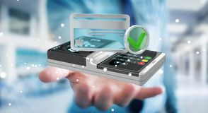 Businessman using contactless terminal payment 3D rendering. Businessman on blurred background using contactless terminal payment 3D rendering Stock Image