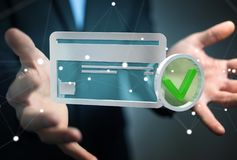 Businessman using credit card to pay online 3D rendering. Businessman on blurred background using credit card to pay online 3D rendering Royalty Free Stock Photography