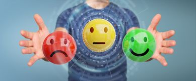 Businessman using customer satisfaction rating 3D rendering. Businessman on blurred background using customer satisfaction rating 3D rendering Stock Image