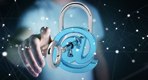 Businessman using 3D rendered digital padlock to secure his inte Royalty Free Stock Photos