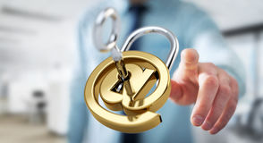 Businessman using 3D rendered digital padlock to secure his inte Stock Image